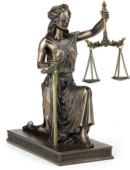 Kneeling Lady Justice Statue with Scale And Sword