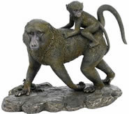 Baboon Monkey Family Sculpture