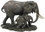 African Elephant and Baby Sculpture