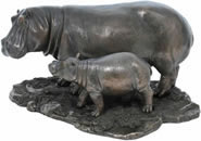 African Hippo and Baby Sculpture