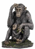 Mother Chimpanzee and Baby Sculpture