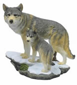 Wolf and Cub Sculpture