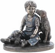 Best Friends- Boy with Dog Sculpture