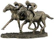 Two Jockeys Racing Sculpture