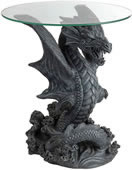 Dragon Jumping Out of Water Glass Top Table