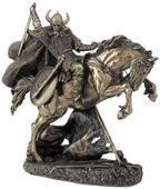 Viking On Rearing Horse Statue