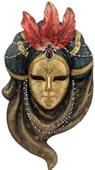 Triple Feather Turban Mask Wall Plaque