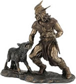 Norse God Tyr with Wolf Fenrir Sculpture