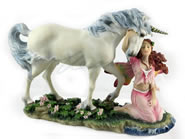 Fairy with Unicorn Sculpture
