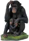 Chimpanzee And Baby Statue