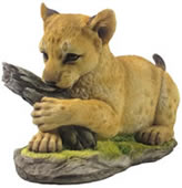 Tiger Cub Holding Tree Trunk Statue