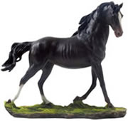 Galloping Black Stallion Sculpture