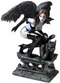 Dark Angel With Gargoyle Statue