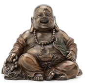 Laughing Buddha (Budai) Figurine - Holding Beads And Fan