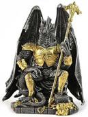 Armored Dragon King on Throne Statue