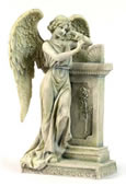 Angel Leaning On Tombstone Statue