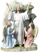 Resurrection Of Jesus Sculpture, Painted