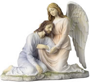 Jesus Leaning On Angel Statue