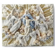 Madonna Holding Jesus With Angels Wall Plaque (Light)