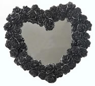 Heart Shape Rose Wreath Mirror (Black)