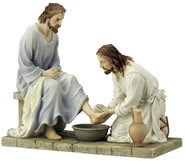 Jesus Washing Disciple's Feet Statue