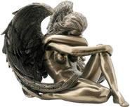 Winged Nude Female Sitting Figurine