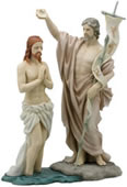 Jesus Baptized By St. John The Baptist  Statue (Painted)
