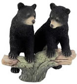 Black Bear Cubs On Tree Branch Statue