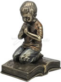 Praying Boy Kneeling On Book Figurine