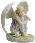 Angel Sitting With Dove Figurine