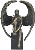 Male Nude Angel Sitting on Plinth Statue-Bronze Finish