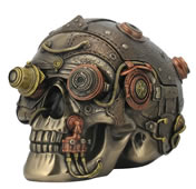 Steampunk Skull With Leather Texture Trinket Box
