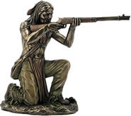 Indian Warrior with Rifle Sculpture