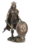 Female Viking Warrior With Sword And Shield Statue
