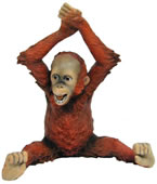 Baby Orangutan Arms Over Head Figurine
