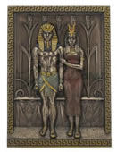 Egyptian Pharaoh Menkaure and Queen Khamerernebty Wall Sculpture