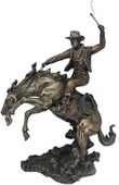 Bucking Bronco with Cowboy Statue
