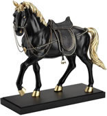 Black/Gold Horse With Crystal Bridle and Saddle Statue