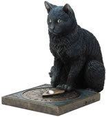 His Master's Voice- Black Cat on Ouija Board Statue
