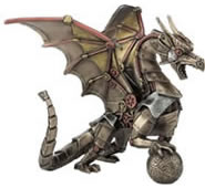 Steampunk Dragon Statue - Sitting And Holding Sphere