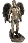 Winged Nude Male Standing On Open Palm Statue