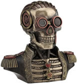 Steampunk Skull Bust in Band Uniform Trinket Box