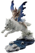 Leap of Faith- Fairy on Arctic Wolf Statue