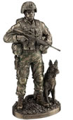 Honor, Courage, Commitment - US Soldier and War Dog Statue