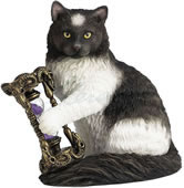 Time's Up Cat Statue with Hourglass