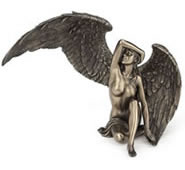 Winged Nude Female Sitting Statue