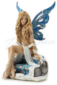 Jeweled Fairy Statue - Sapphire