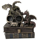 Dragonlings On Top Of Skull And Books Statue