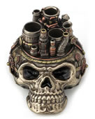 Steampunk Flat Skull Chimney Pen Holder