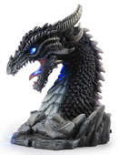 Horned Obsidian Dragon Bust Statue (LED)